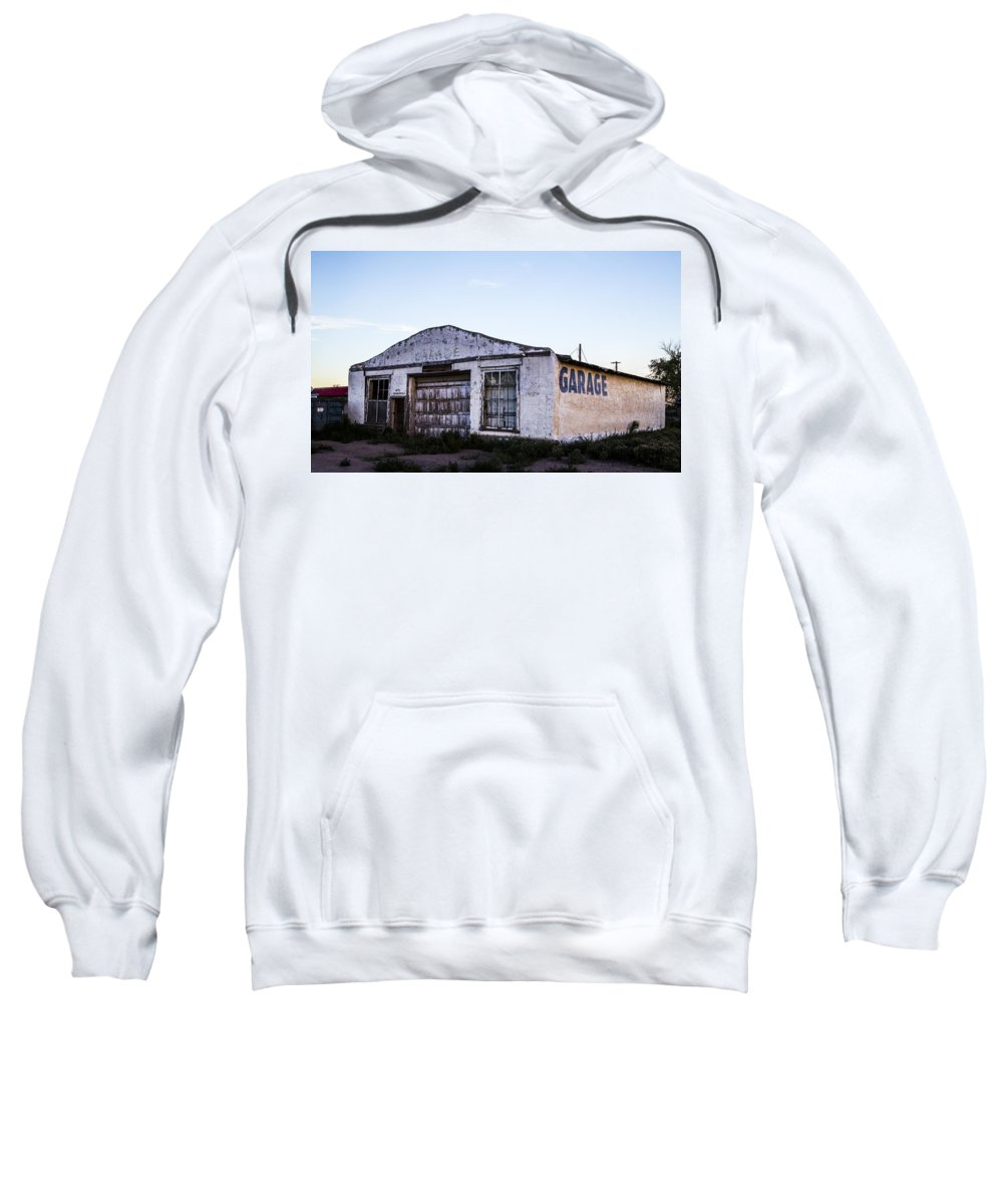 Route 66 Sweatshirt featuring the photograph Garage 2 by Angus Hooper Iii