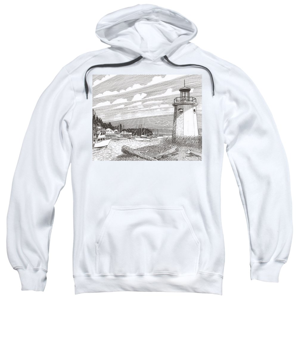 Lighthouse Art Sweatshirt featuring the drawing Lighthouse Gig Harbor Entrance by Jack Pumphrey