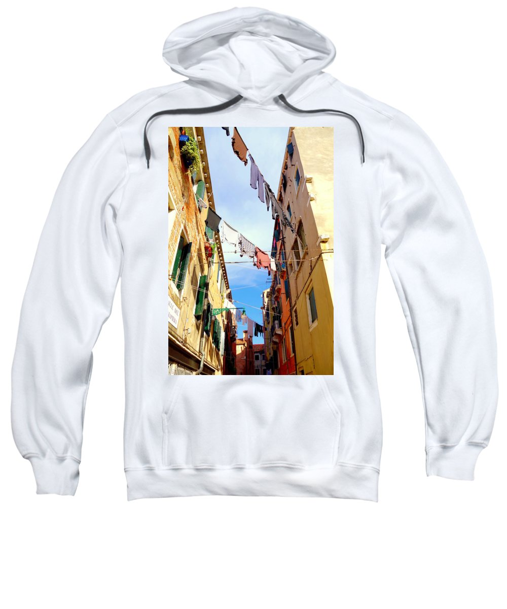 Clothing Sweatshirt featuring the photograph Hanging In Venice by Valentino Visentini