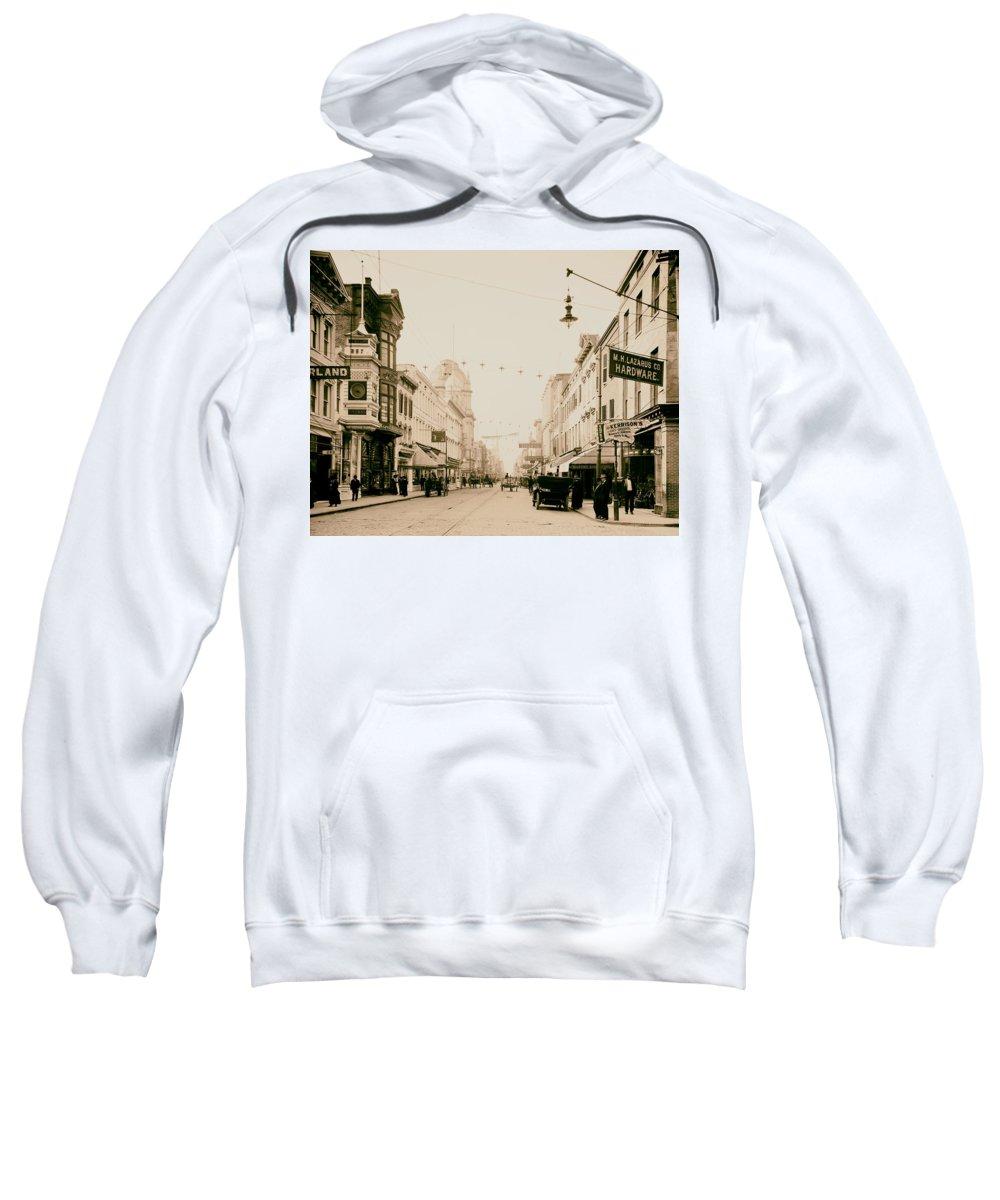 1910 Sweatshirt featuring the photograph King Street In Charleston South Carolina Circa 1910 by Mountain Dreams