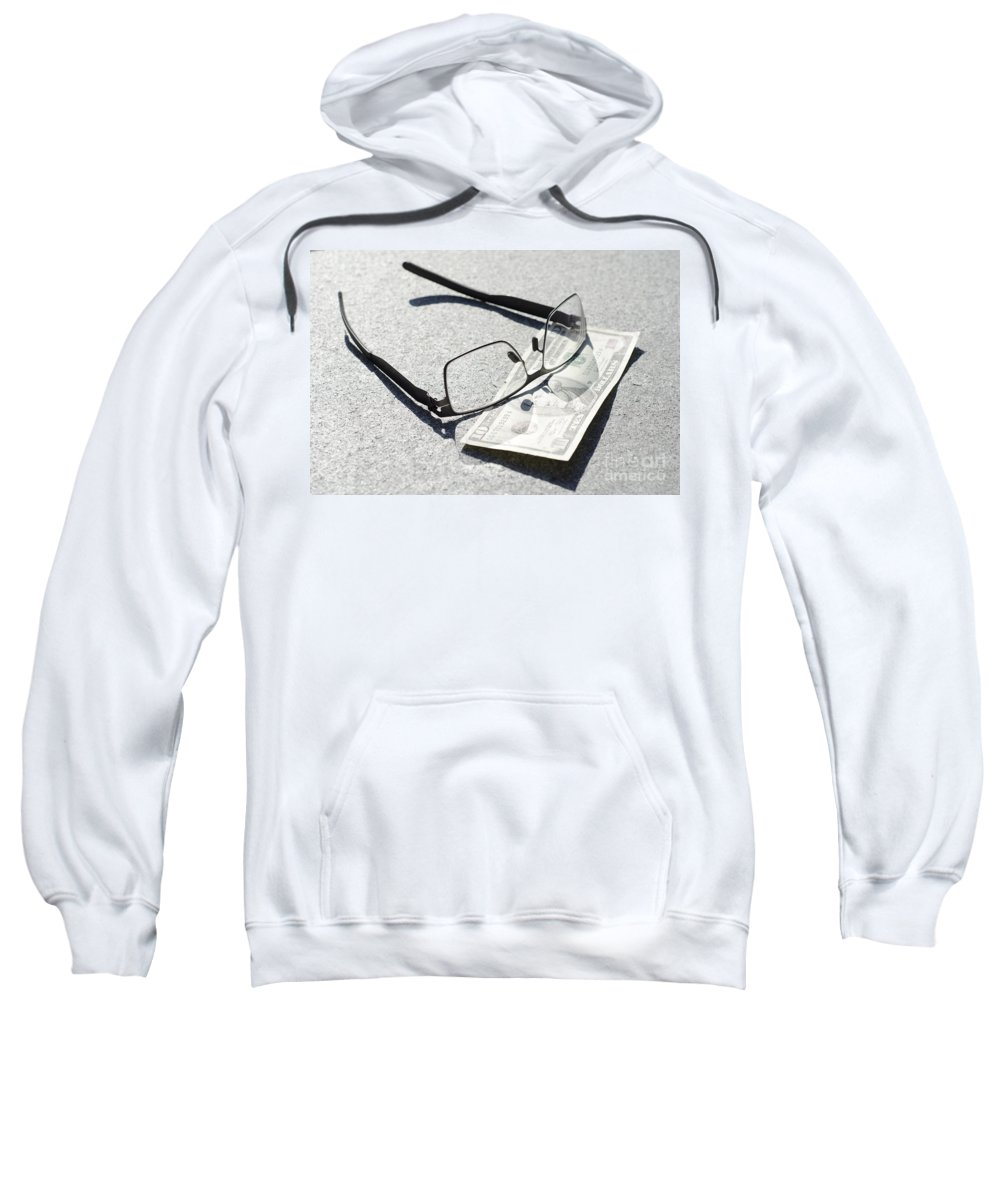 Money Sweatshirt featuring the photograph Money And Eyeglasses by Mats Silvan