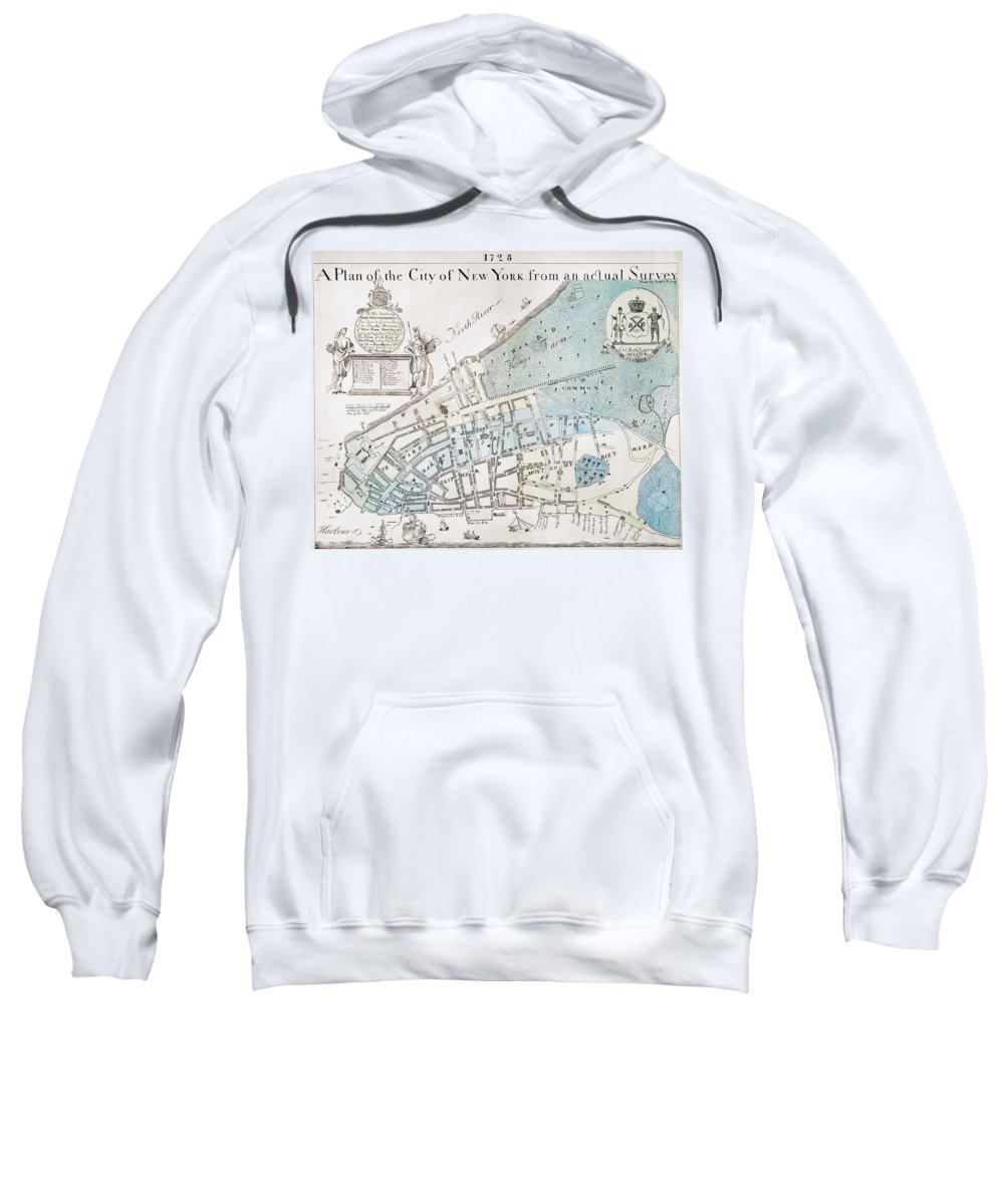 1728 Sweatshirt featuring the photograph New York City Map, 1728 by Granger
