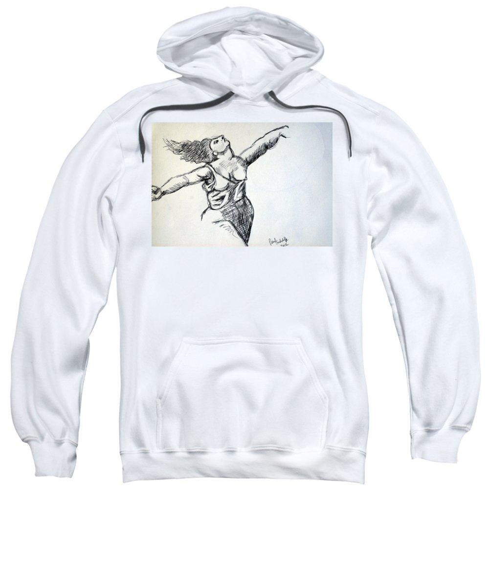 Nudes Sweatshirt featuring the drawing On The Beach Sketch by Paul Sutcliffe