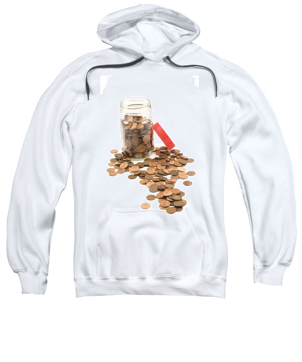 Penny Sweatshirt featuring the photograph Pennies And Jar On White Background by Keith Webber Jr