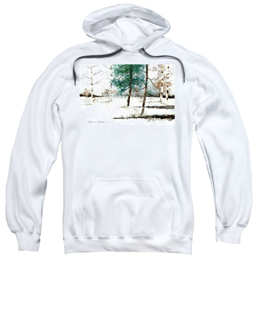 Pine Woods Sweatshirt featuring the painting Pine Woods by Steven Schultz