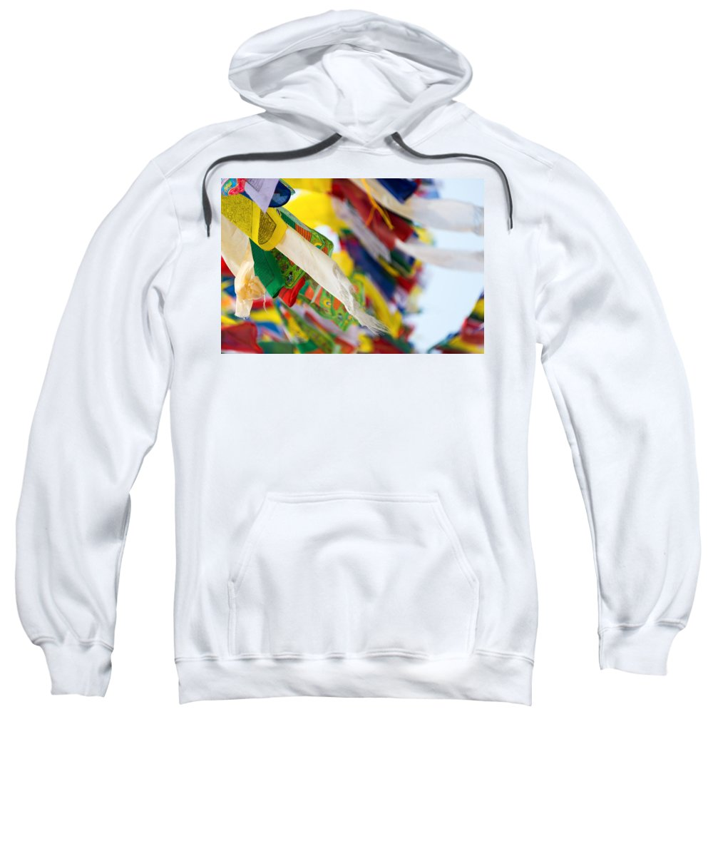 Buddhism Sweatshirt featuring the photograph Prayer Flags by Dutourdumonde Photography