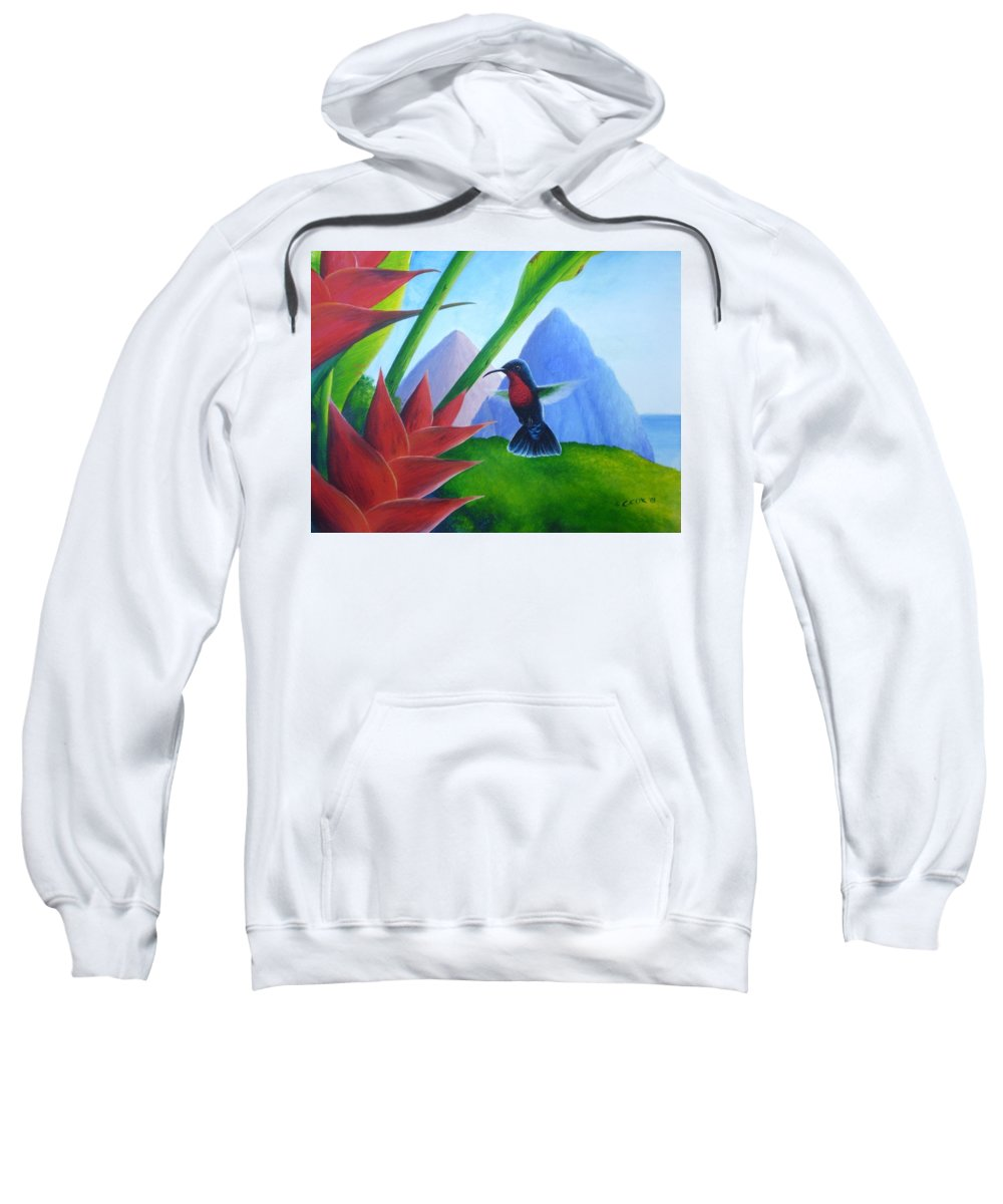 Chris Cox Sweatshirt featuring the painting Purple-throated Carib and heliconia by Christopher Cox