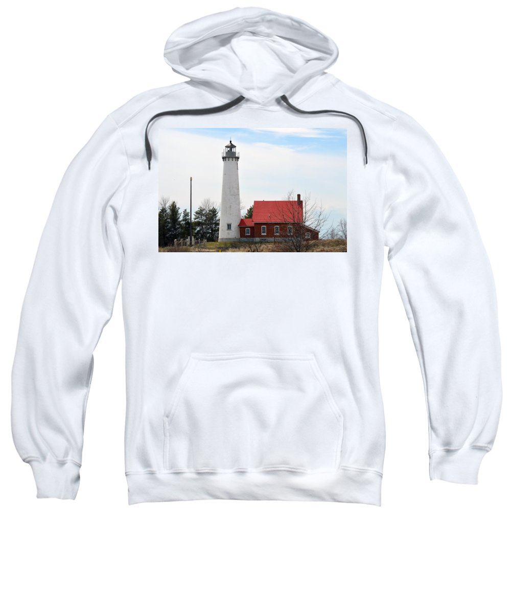 Tawas Point Lighthouse Sweatshirt featuring the photograph Red And White by Linda Kerkau