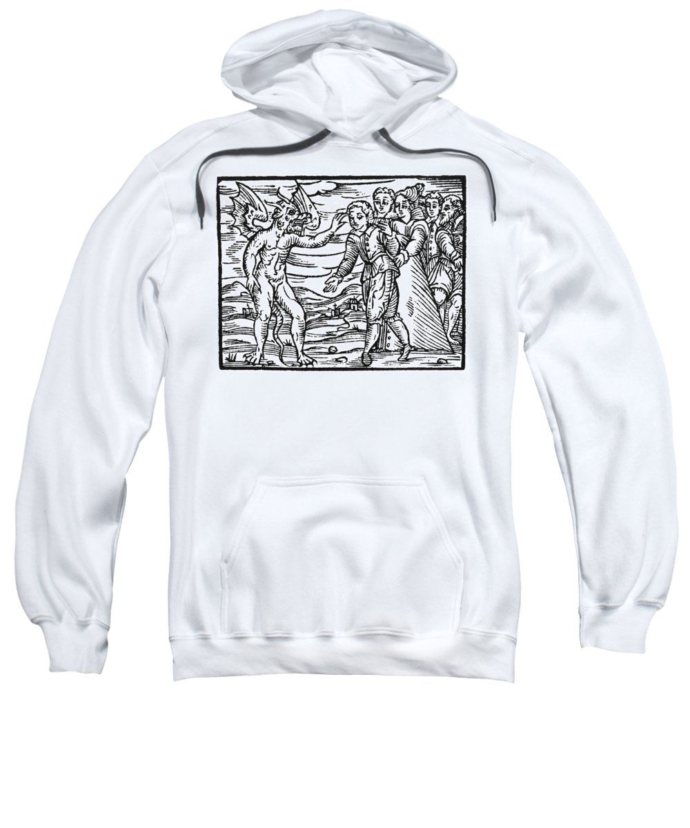 1626 Sweatshirt featuring the painting Satan & Sorcerer, 1626 by Granger