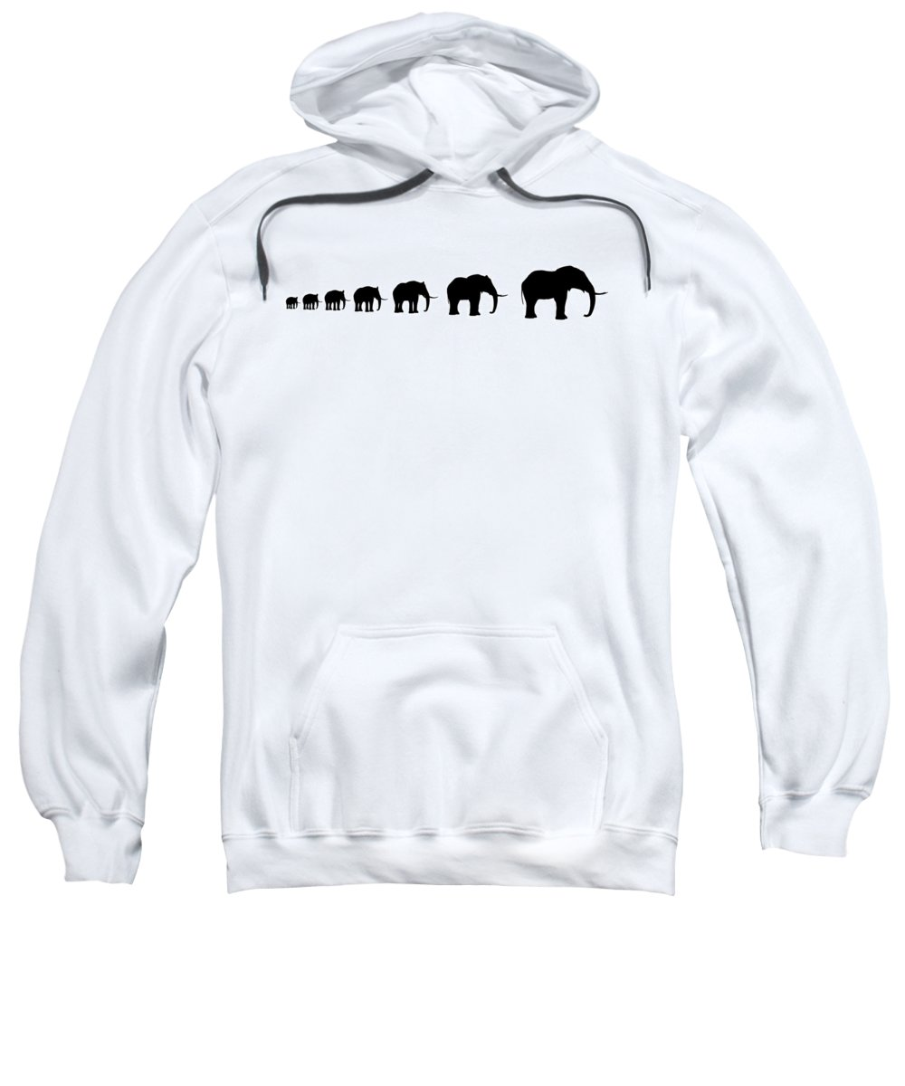 Serengeti Sweatshirt featuring the digital art Seven Elefants In Line Silhouette by Nenad Cerovic