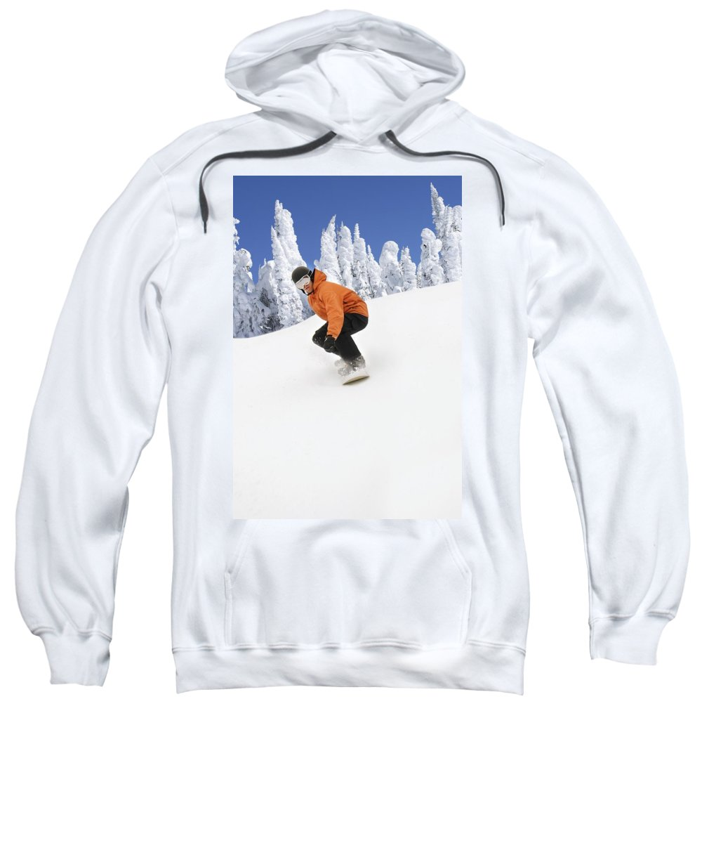 Winter Sweatshirt featuring the photograph Snowboarder Going Down Snowy Hill by Leah Hammond
