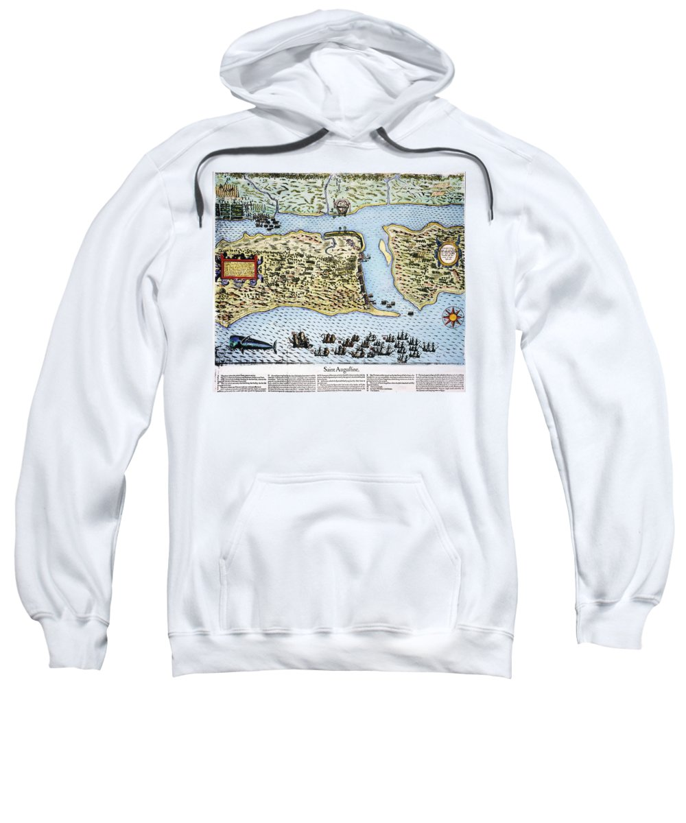 1586 Sweatshirt featuring the photograph Taking Of St. Augustine by Granger
