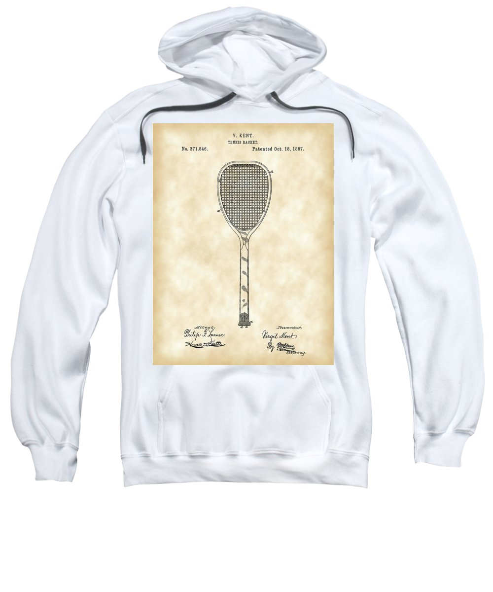 Tennis Sweatshirt featuring the photograph Tennis Racket Patent 1887 - Vintage by Stephen Younts