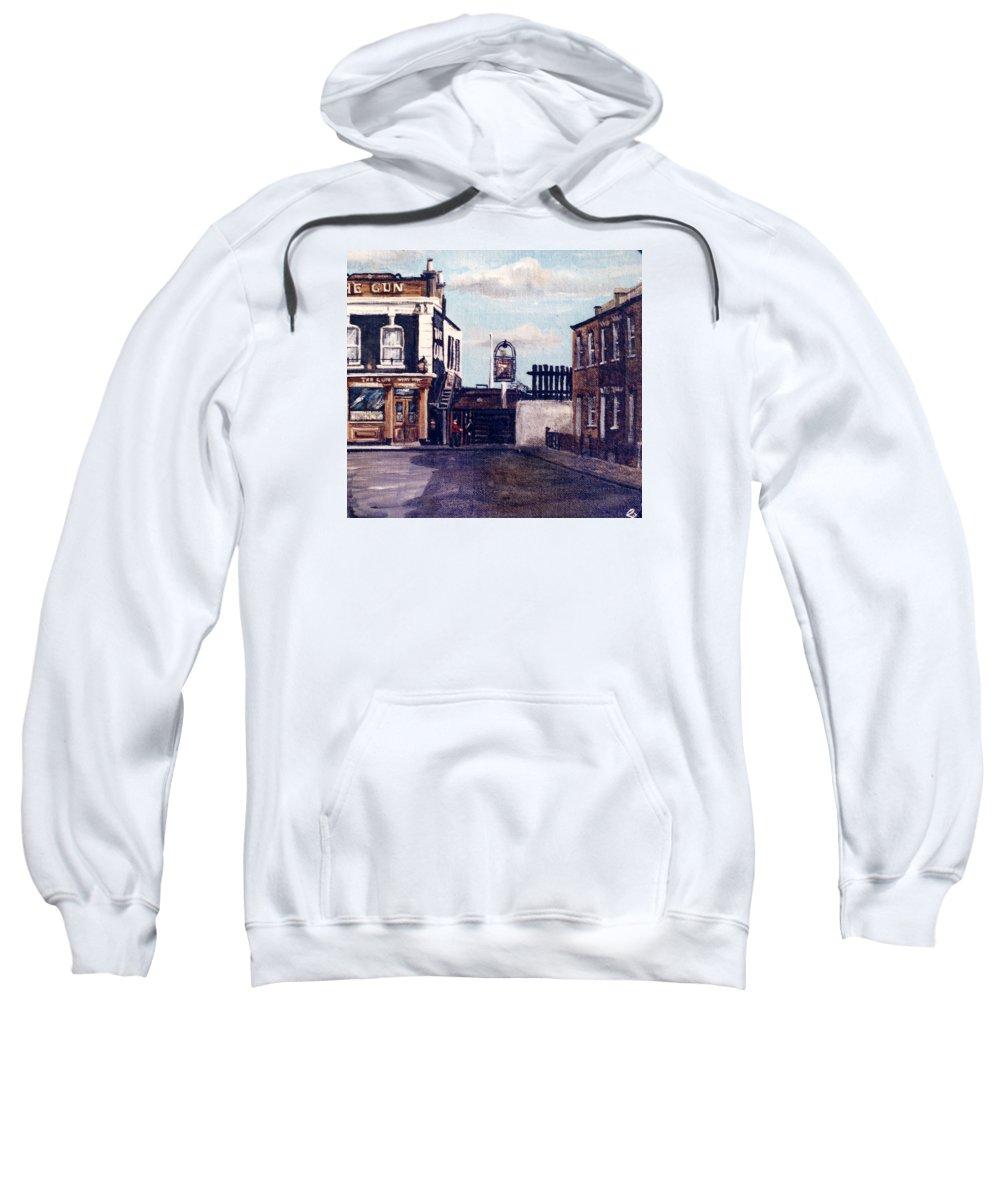 Gun Public House Sweatshirt featuring the painting The Gun Public House Isle Of Dogs London by Mackenzie Moulton