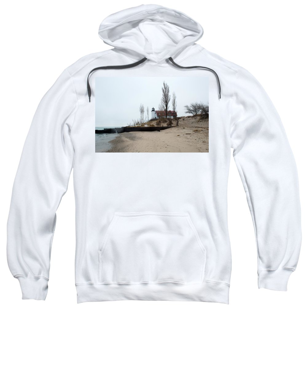 Michigan Sweatshirt featuring the photograph The Point by Linda Kerkau