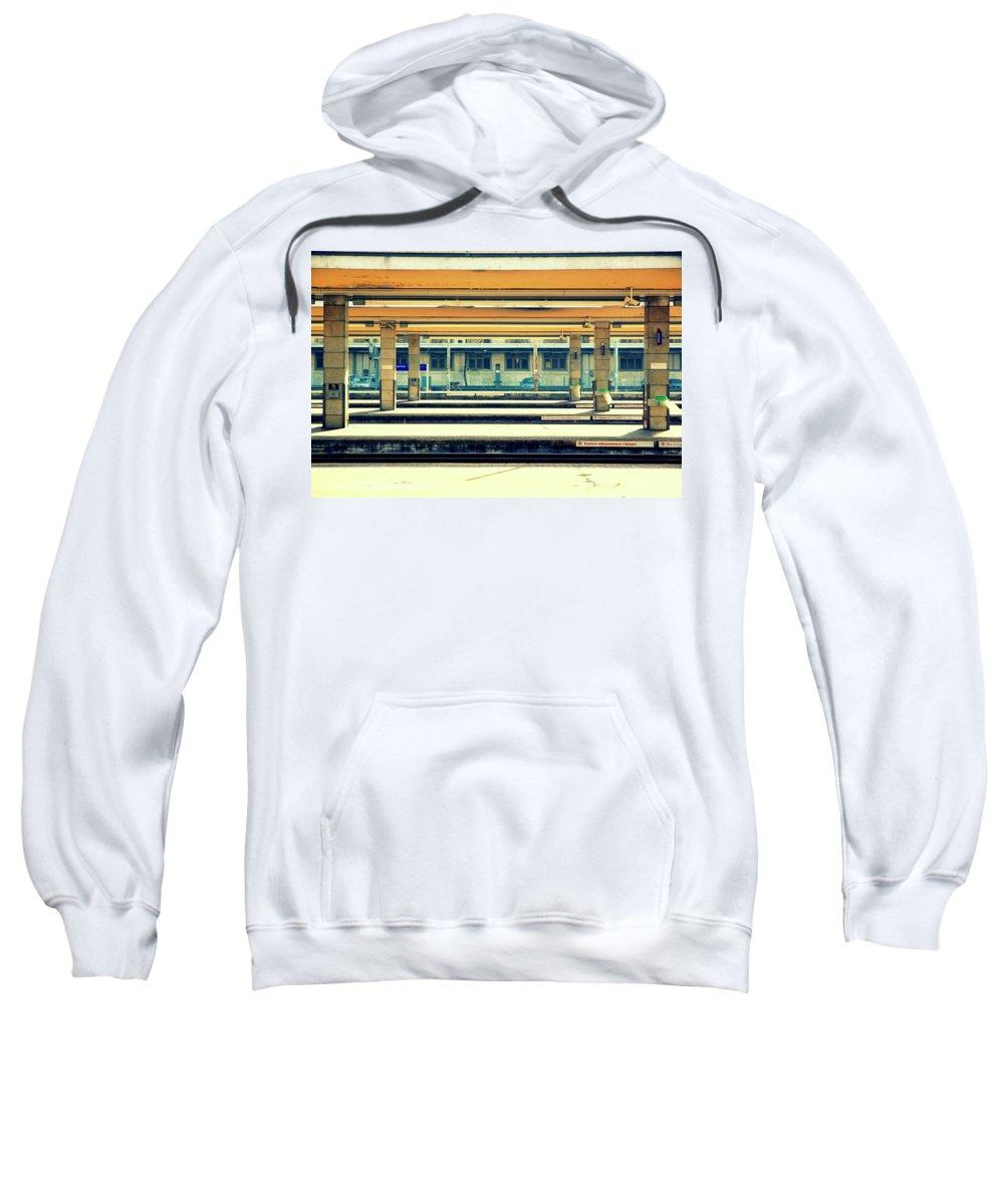 Train Sweatshirt featuring the photograph Train Station by Valentino Visentini