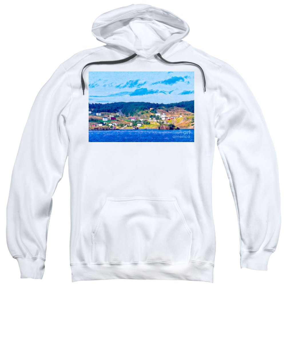 Village Sweatshirt featuring the photograph Village In Newfoundland by Les Palenik