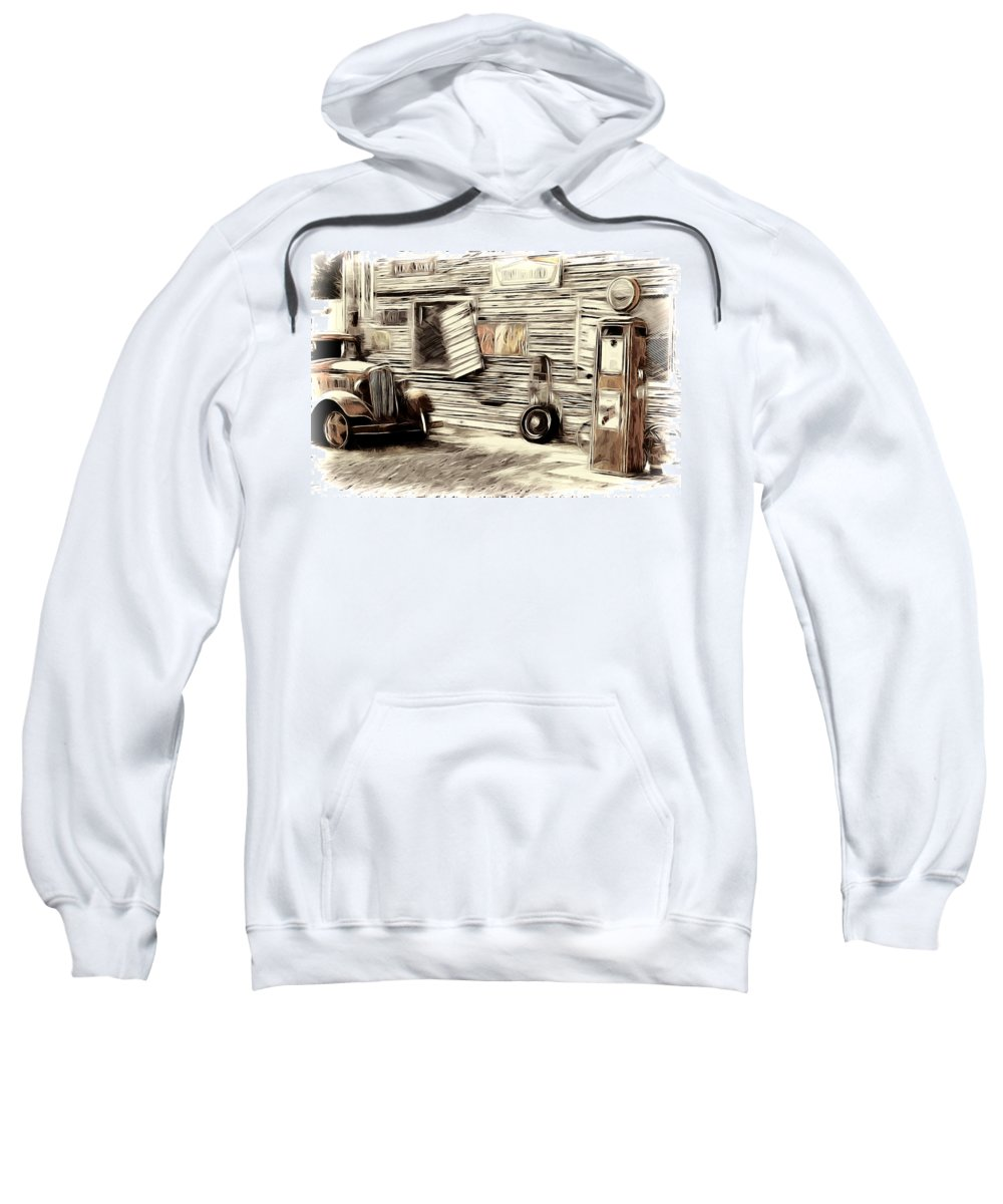 Vintage Gas Station Sweatshirt featuring the photograph Vintage Gas by Steve McKinzie