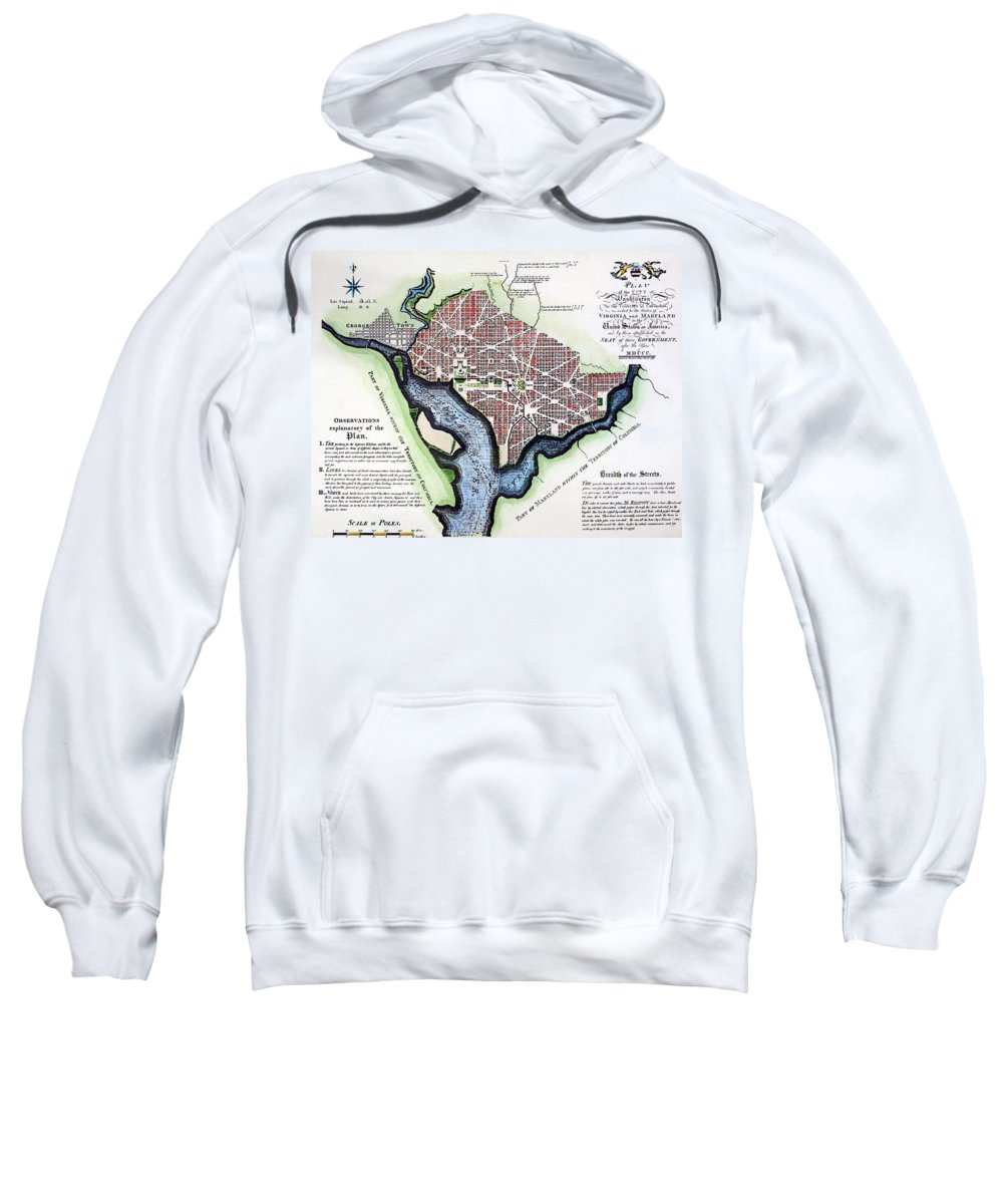 1792 Sweatshirt featuring the photograph Washington, Dc, Plan, 1792 by Granger