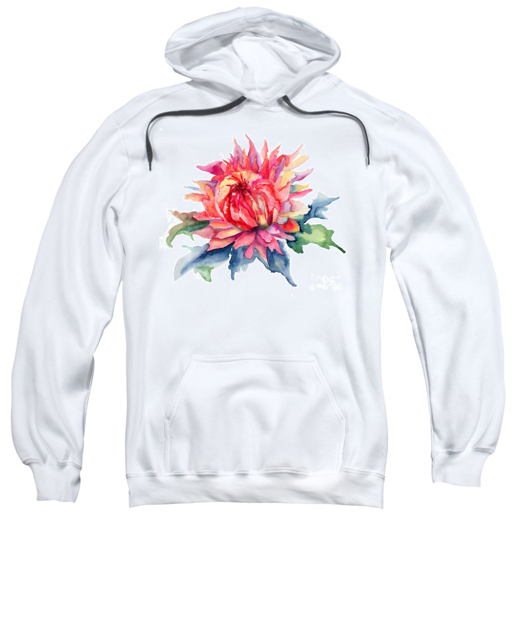 Background Sweatshirt featuring the painting Watercolor Illustration With Beautiful Flowers by Regina Jershova