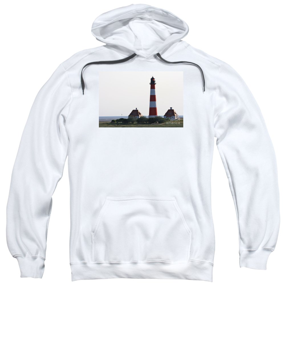 Lighthouse Sweatshirt featuring the photograph Westerhebersand Lighthouse - North Sea - Germany by Christiane Schulze Art And Photography
