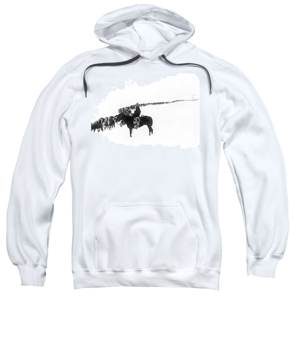 1920s Sweatshirt featuring the photograph Wintertime Cattle Drive by Underwood Archives Charles Belden