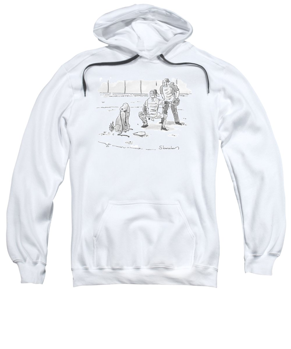 Sports Pets Dogs Baseball Homeplate Walk Sweatshirt featuring the drawing New Yorker October 10th, 2005 by Danny Shanahan