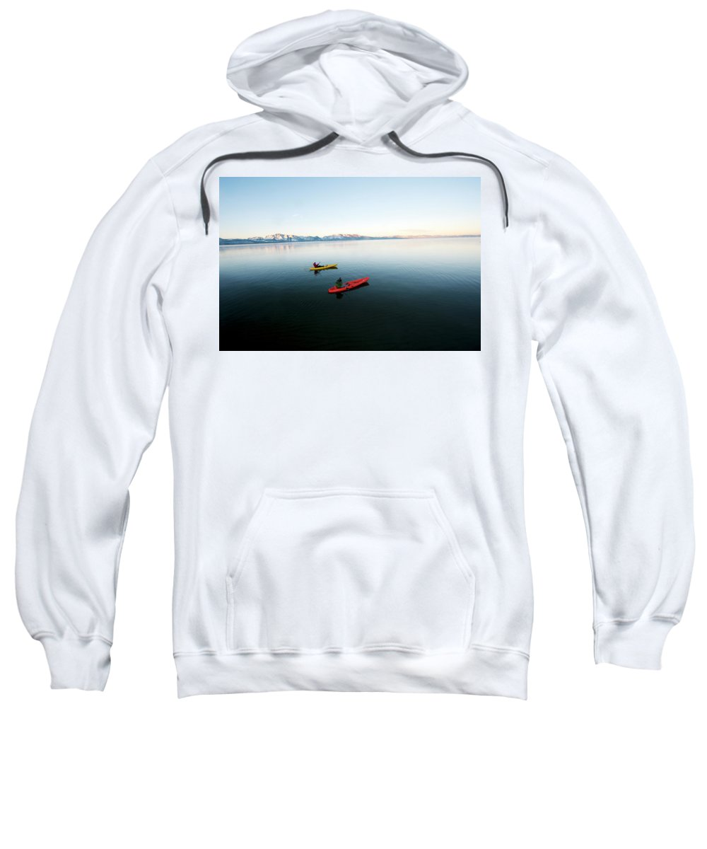 30-34 Years Sweatshirt featuring the photograph A Photographer Photographs A Kayaker by Jose Azel