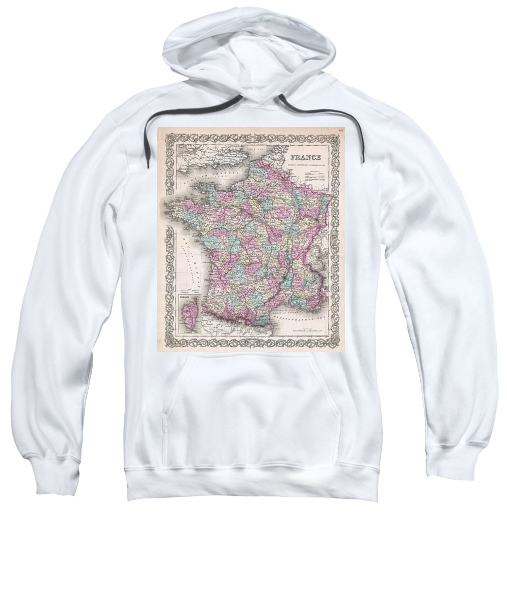 Sweatshirt featuring the photograph 1855 Colton Map Of France by Paul Fearn