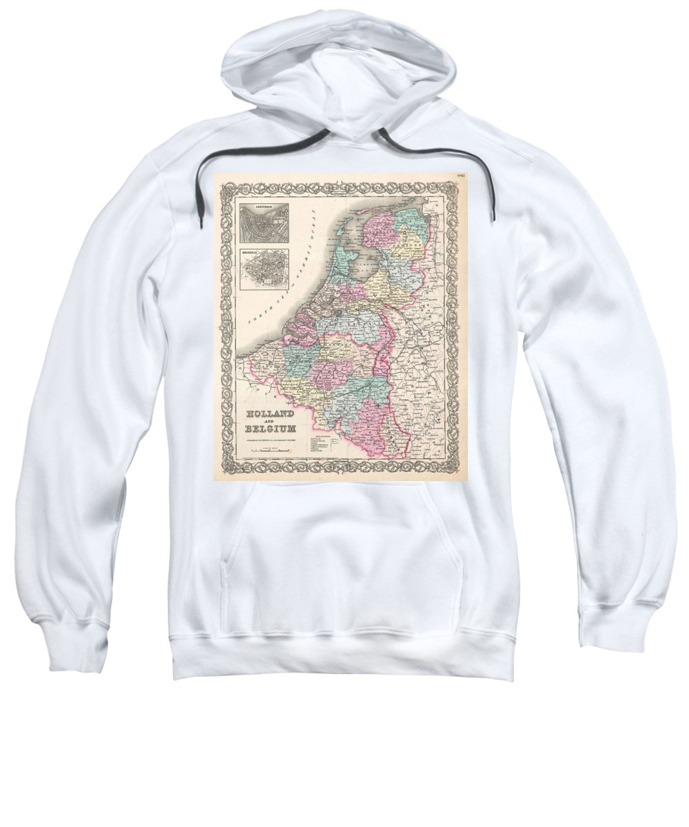 Sweatshirt featuring the photograph 1855 Colton Map Of Holland And Belgium by Paul Fearn