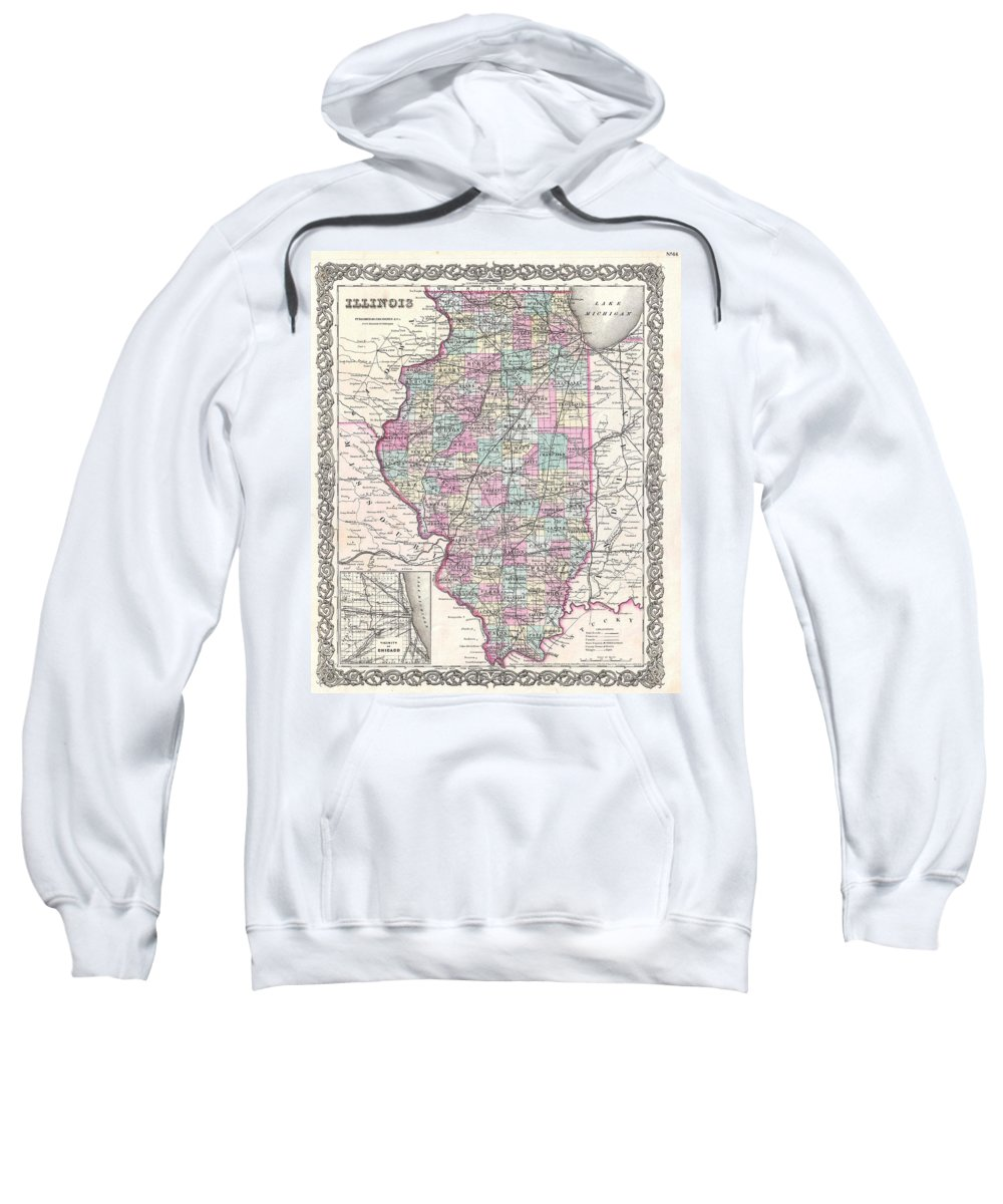 Sweatshirt featuring the photograph 1855 Colton Map Of Illinois by Paul Fearn