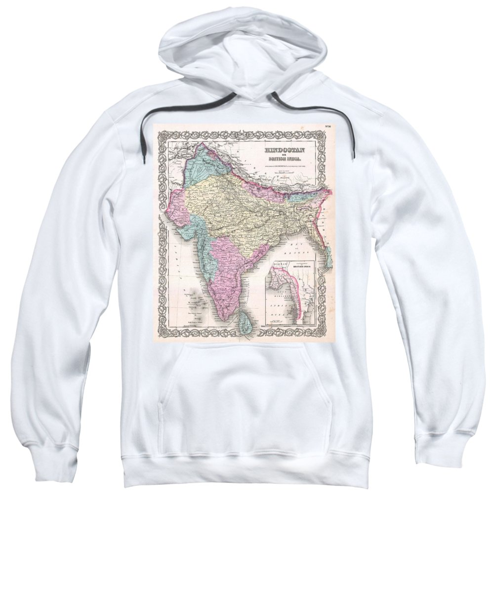 Sweatshirt featuring the photograph 1855 Colton Map Of India by Paul Fearn