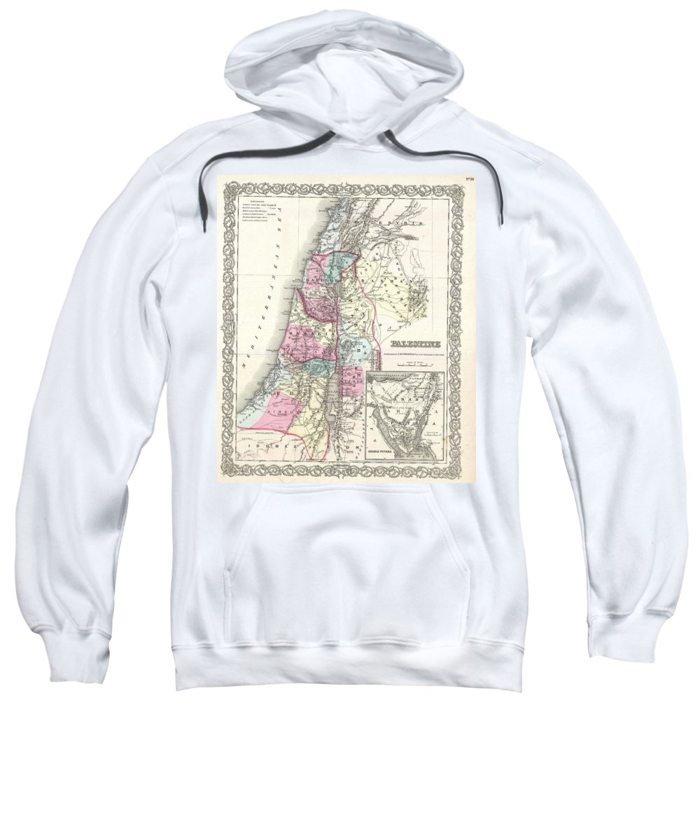 Sweatshirt featuring the photograph 1855 Colton Map Of Israel Palestine Or The Holy Land by Paul Fearn