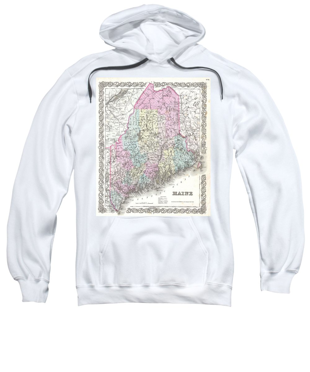 Sweatshirt featuring the photograph 1855 Colton Map Of Maine by Paul Fearn