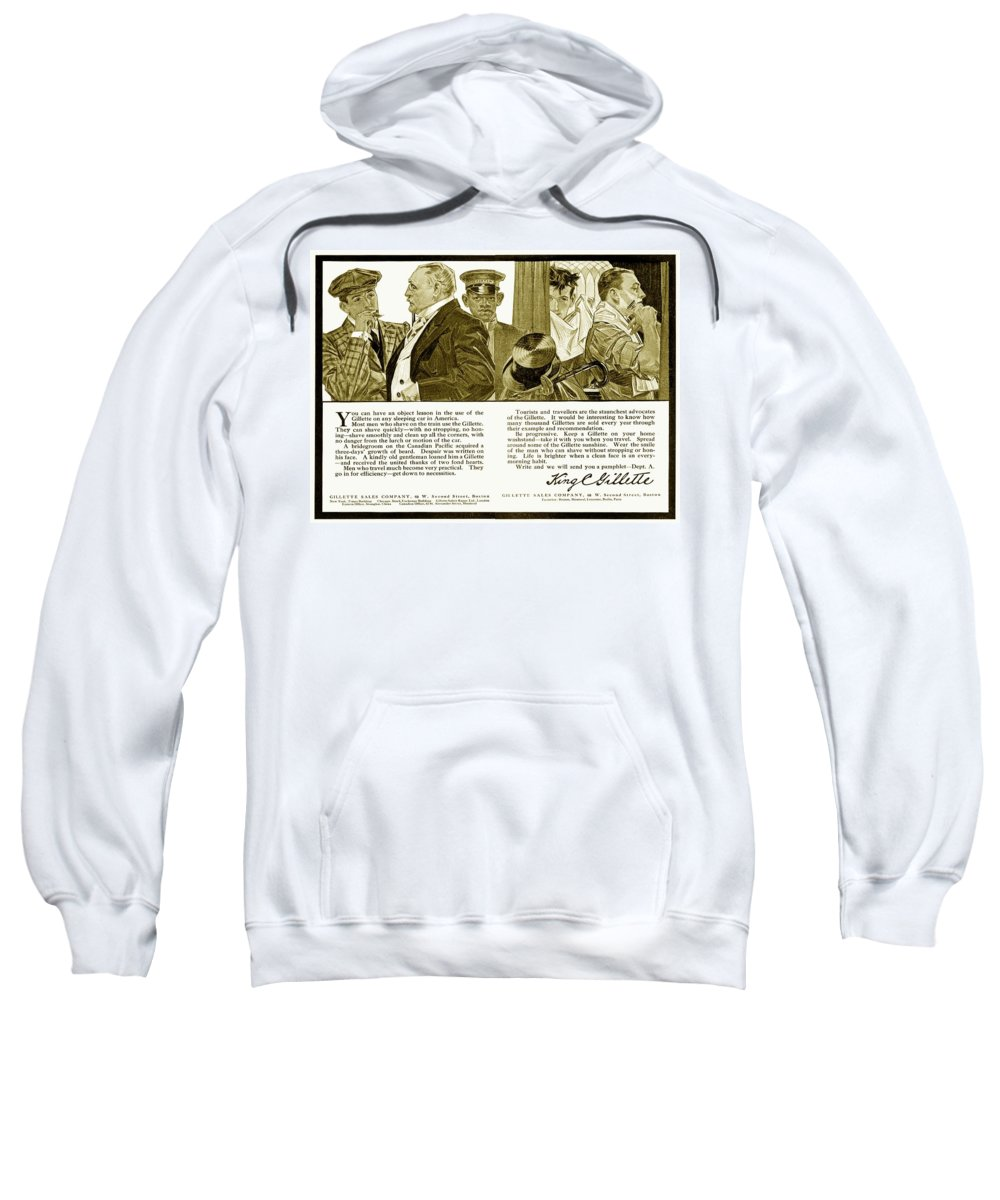 1910 Sweatshirt featuring the digital art 1910 - Gillette Mens Shaving Advertisement by John Madison