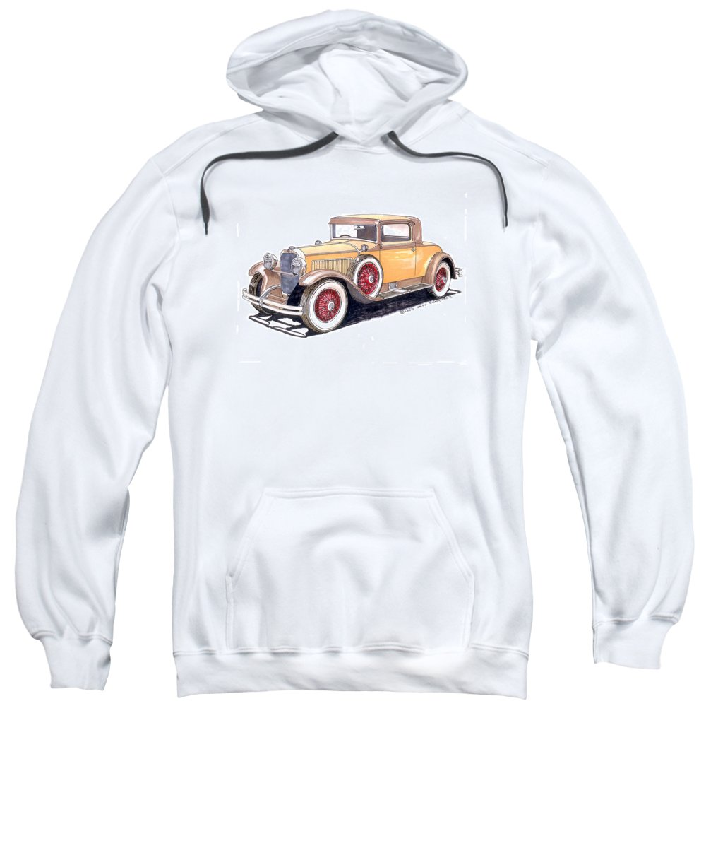 Framed Art Of The 1949 To 1961 Studebakers Sweatshirt featuring the painting 1929 Nash Advanced 6 Sport by Jack Pumphrey