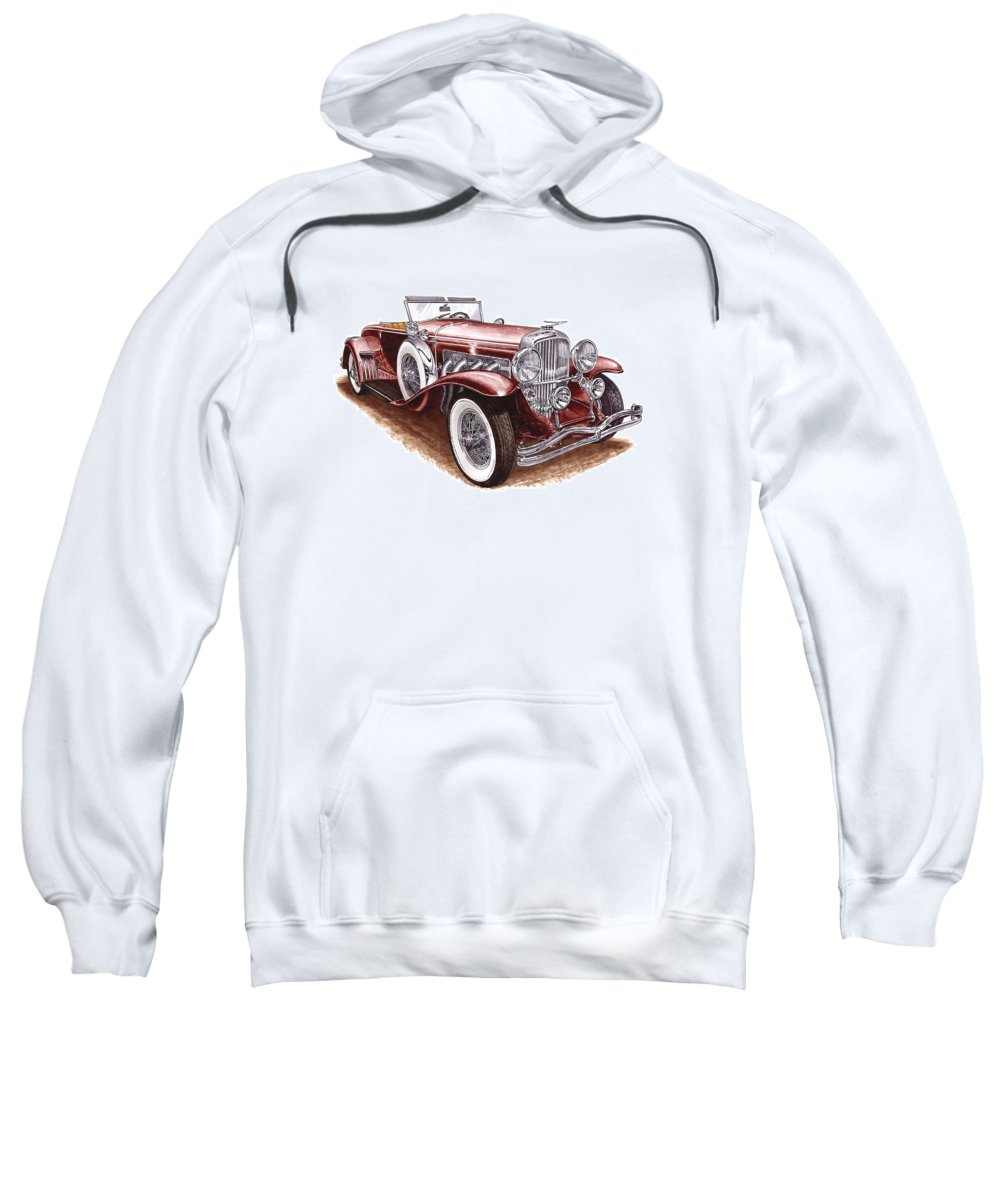 An Art Print Using Colored Pencils Of A 1930 Duesenberh Model J Roadster Coupe Sweatshirt featuring the mixed media 1930 Dusenberg Model J by Jack Pumphrey