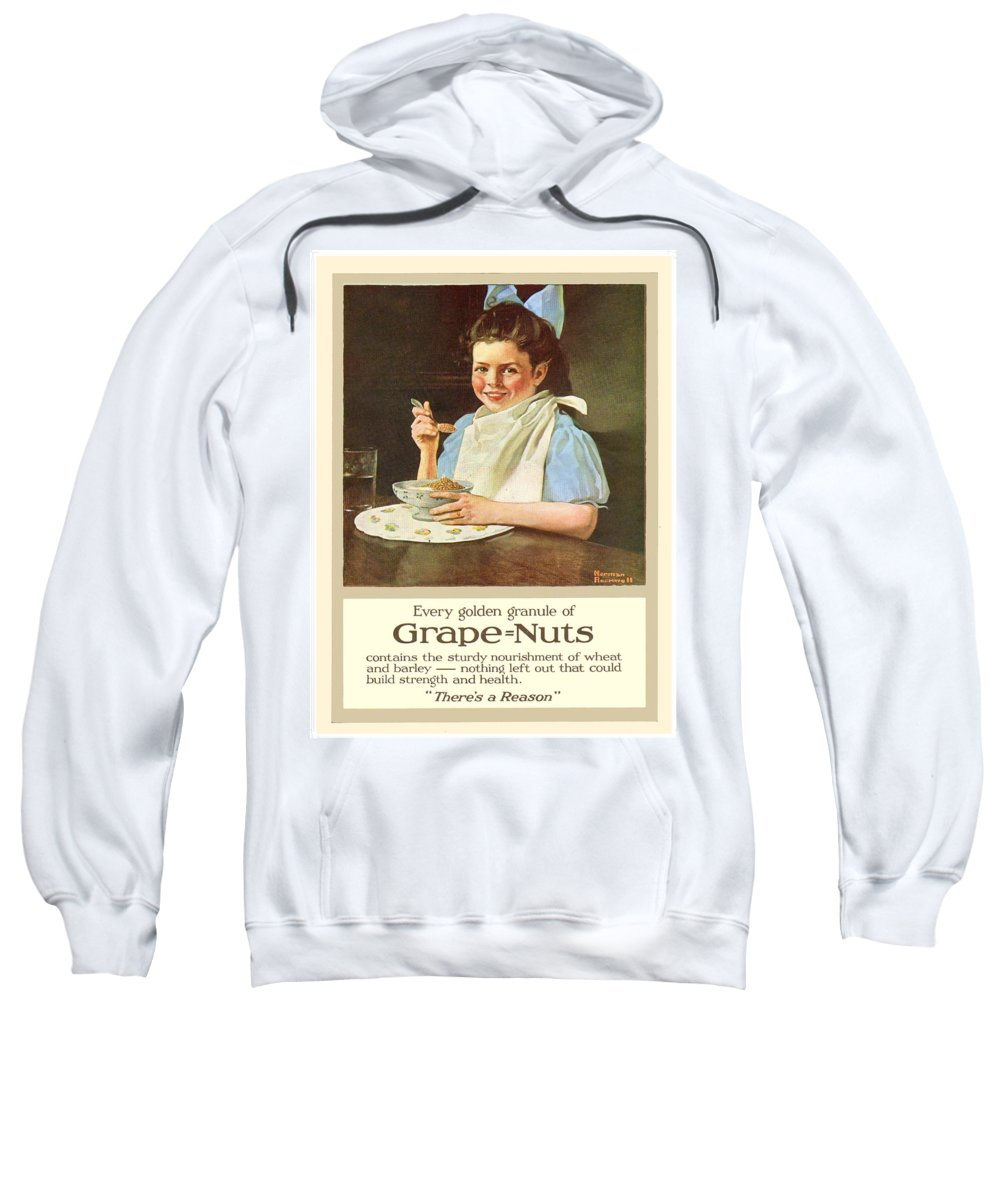 Norman Rockwell Sweatshirt featuring the digital art 1930 - Post Grape Nuts Cereal Advertisement - Norman Rockwell - Color by John Madison