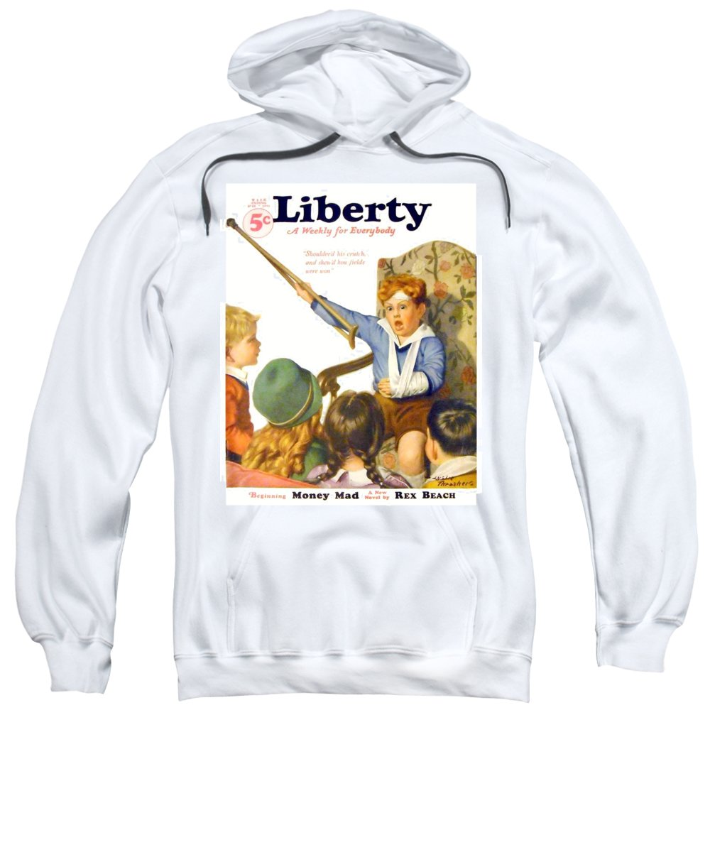 Liberty Sweatshirt featuring the digital art 1931 - Liberty Magazine Cover - March 7 - Leslie Thrasher - Color by John Madison