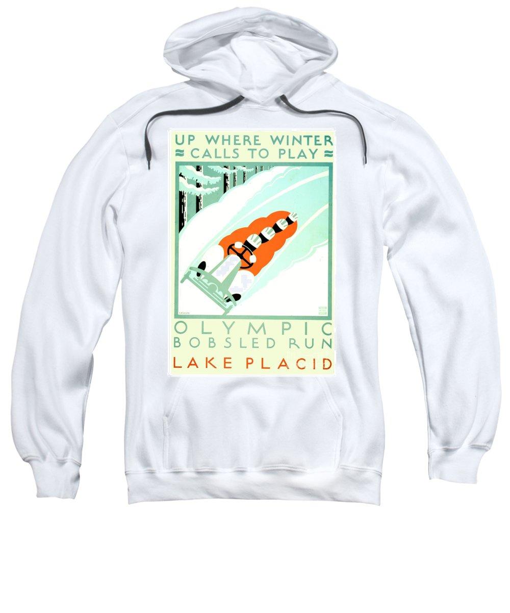 19351925 Sweatshirt featuring the digital art 1935 - Lake Placid - New York - Travel Poster - Color by John Madison
