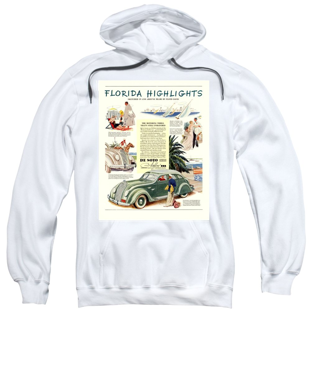 1936 Sweatshirt featuring the digital art 1936 - De Soto Airflow IIi Automobile Advertisement - Color by John Madison