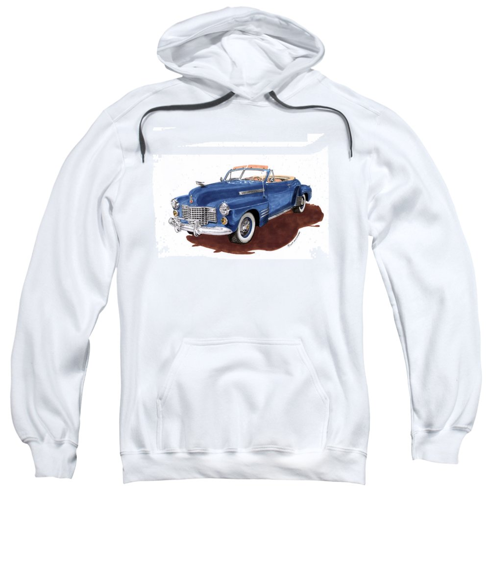 Classic Car Paintings Sweatshirt featuring the painting 1941 Cadillac Series 62 Convertible by Jack Pumphrey