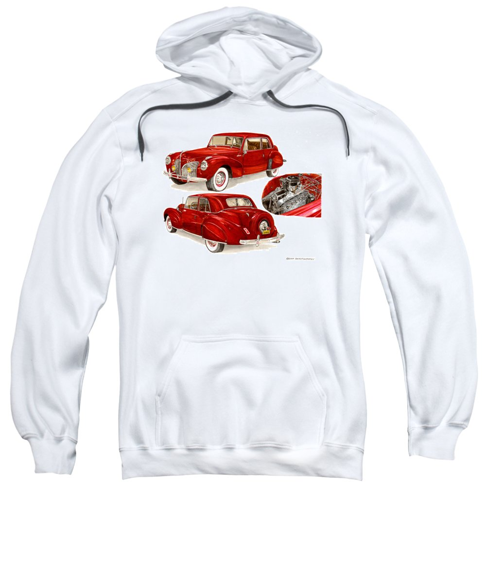 A Jack Pumphrey Watercolor Painting Of A 1941 Lincoln Continental Sweatshirt featuring the painting 1941 V 12 Lincoln Continental by Jack Pumphrey
