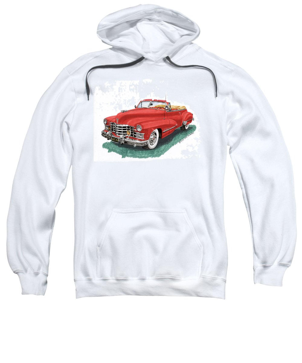 Framed Prints Of Vintage 1947 Cadillac Convertibles Sweatshirt featuring the painting Cadillac Series 62 Convertible by Jack Pumphrey