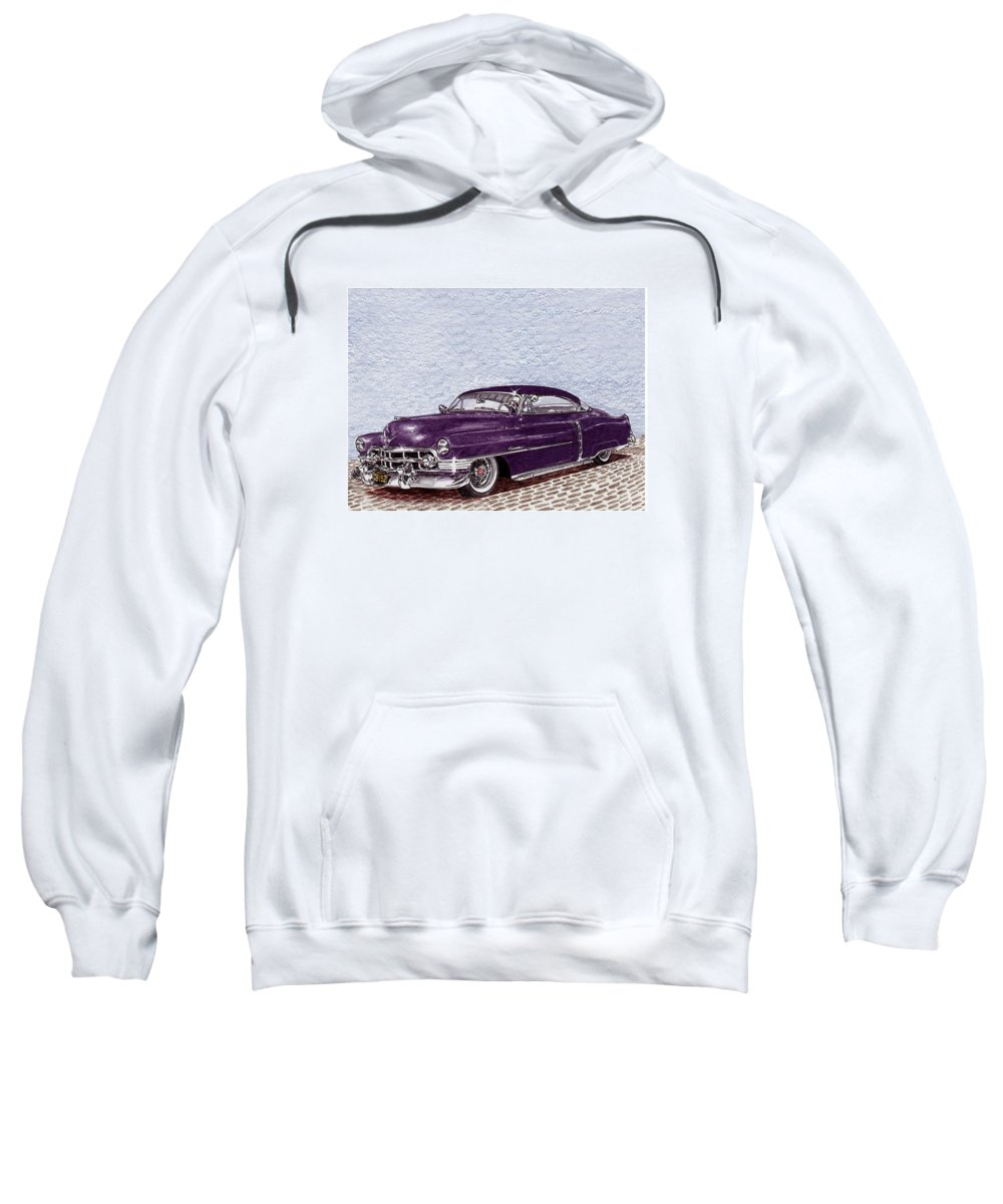 Colored Pencil Drawing Of A Lowrider Chopped 1950 Cadillac Coupe De Ville Sweatshirt featuring the painting Chopped 1950 Cadillac Coupe De Ville by Jack Pumphrey
