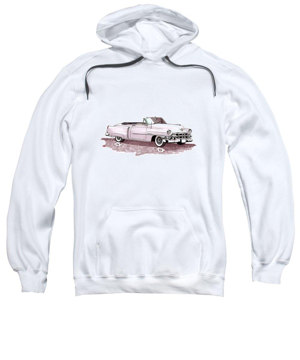 Classic Car Paintings Sweatshirt featuring the painting 1953 Cadillac El Dorado by Jack Pumphrey