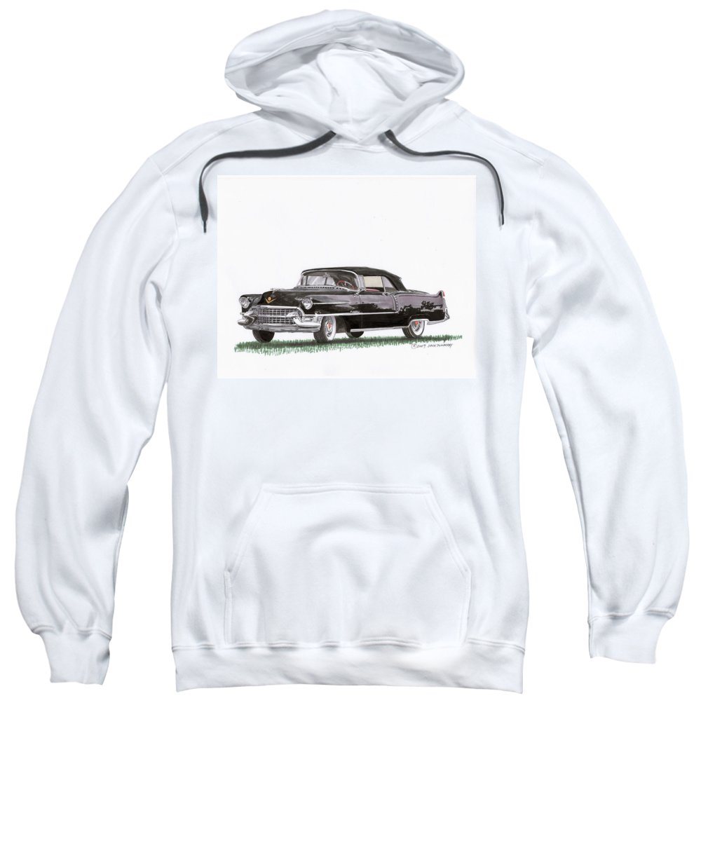 Classic Car Paintings Sweatshirt featuring the painting 1955 Cadillac Series 62 Convertible by Jack Pumphrey