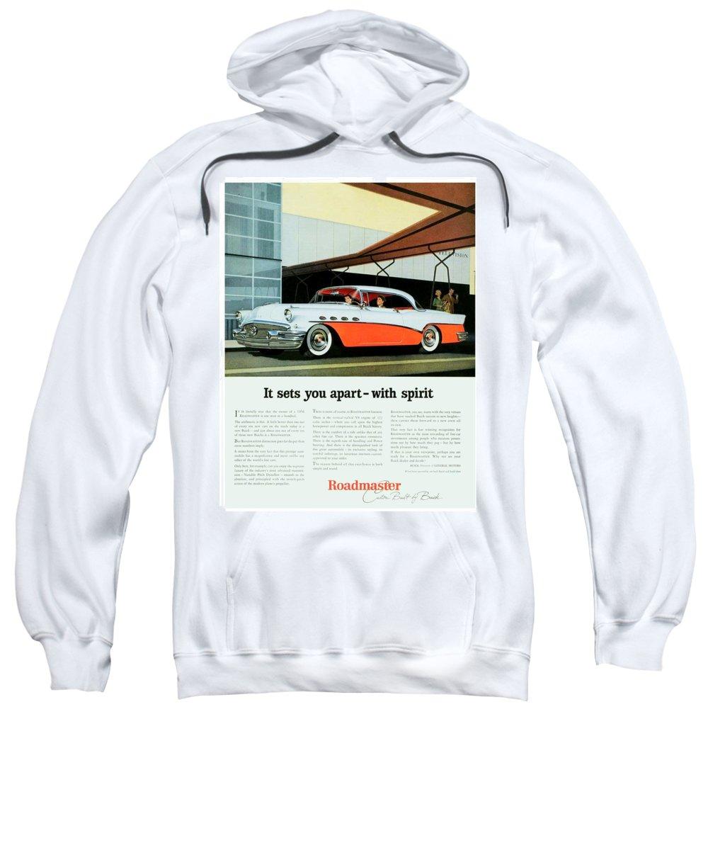 1956 Sweatshirt featuring the digital art 1956 - Buick Roadmaster Convertible - Advertisement - Color by John Madison