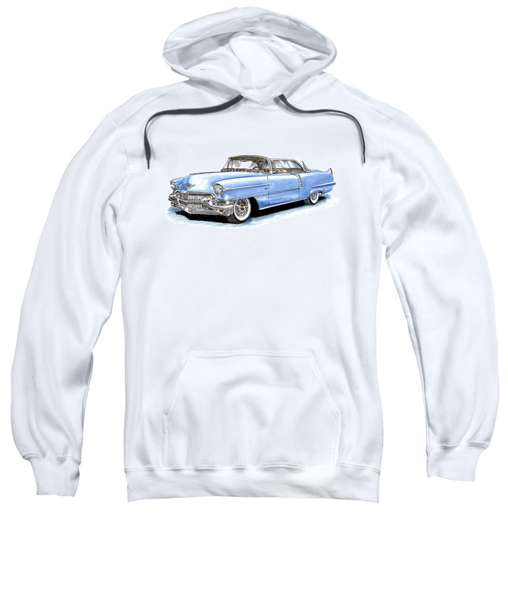 1956 Sweatshirt featuring the drawing 1956 Cadillac Coupe De Ville by Jack Pumphrey
