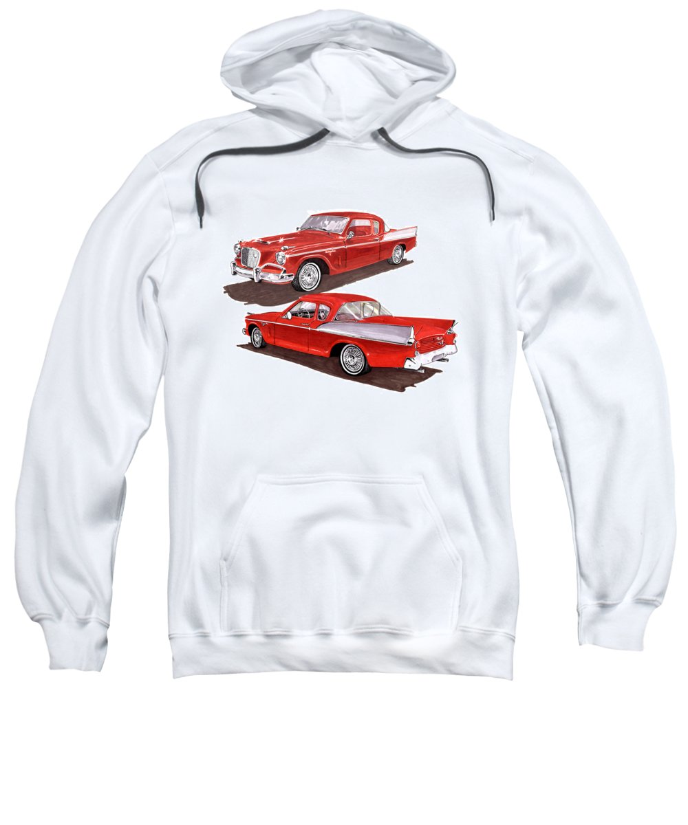Thank You For Buying A Greeting Card Of 1957 Studebaker Silver Hawk To A Buyer From Jeffersonville Sweatshirt featuring the painting 1957 Studebaker Silver Hawk by Jack Pumphrey